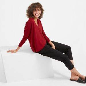 Everlane luxe wool square neck sweater red